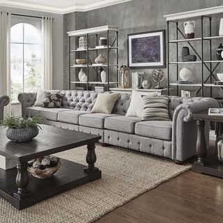 Knightsbridge Grey Linen Oversize Extra Long Tufted Chesterfield Modular  Sofa By SIGNAL HILLS