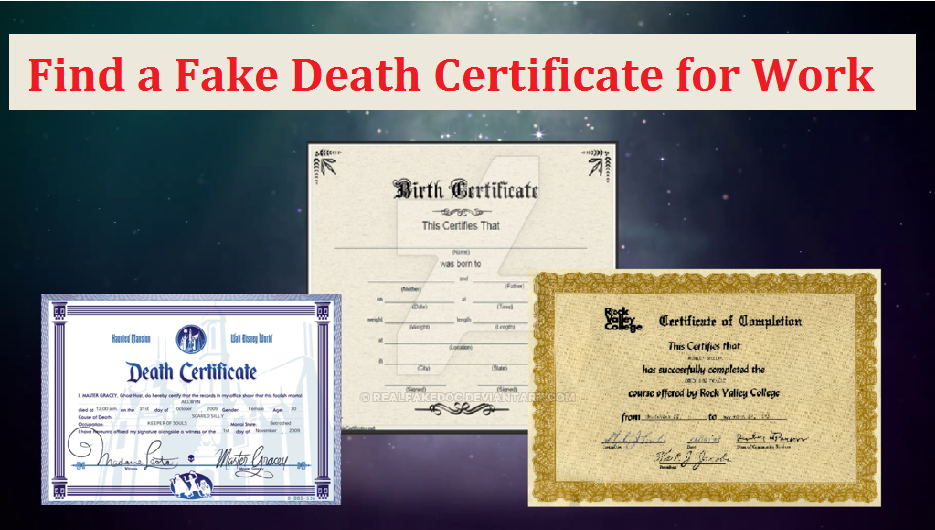 Fake Death Certificate Fake Death Certificate For Work Pinterest