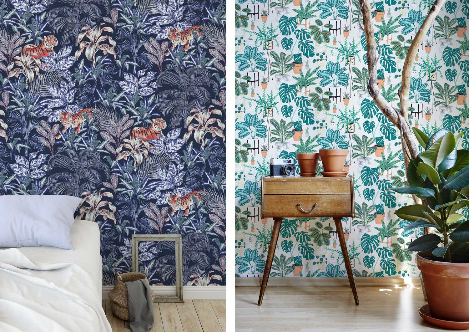 Milton and King wallpaper with a tiger tropical and plant