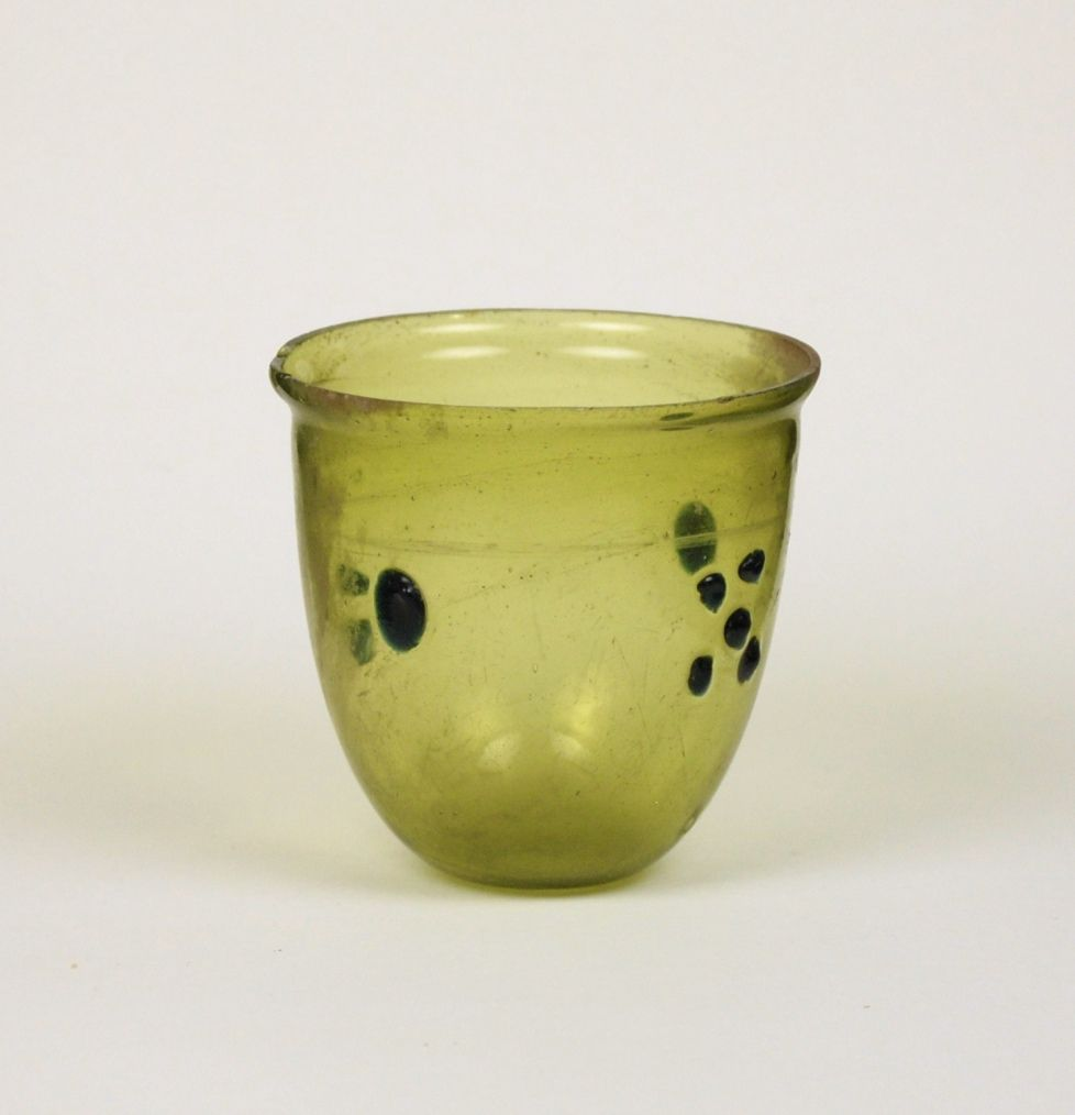 57R Roman Glass Cup or Lamp with Blue Blobs, 4th Century