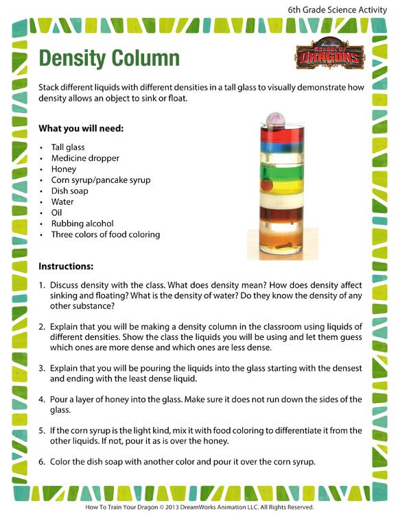Gr 6 Density Column Printable Science Activities Science For