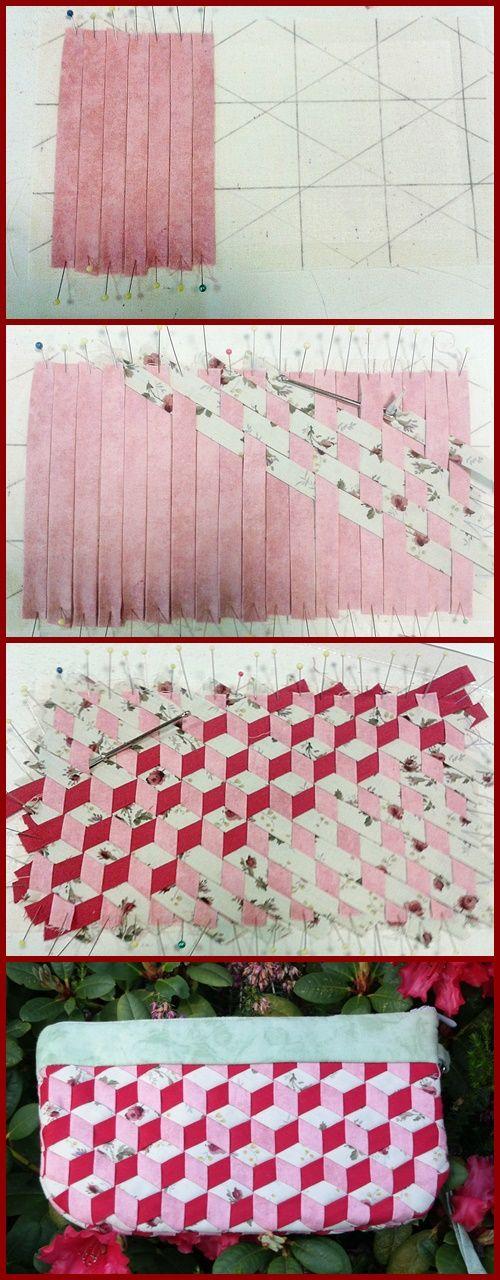 DIY: Aus Schrägbändern gewebtes Täschchen - | Pinterest | Schrägband ...