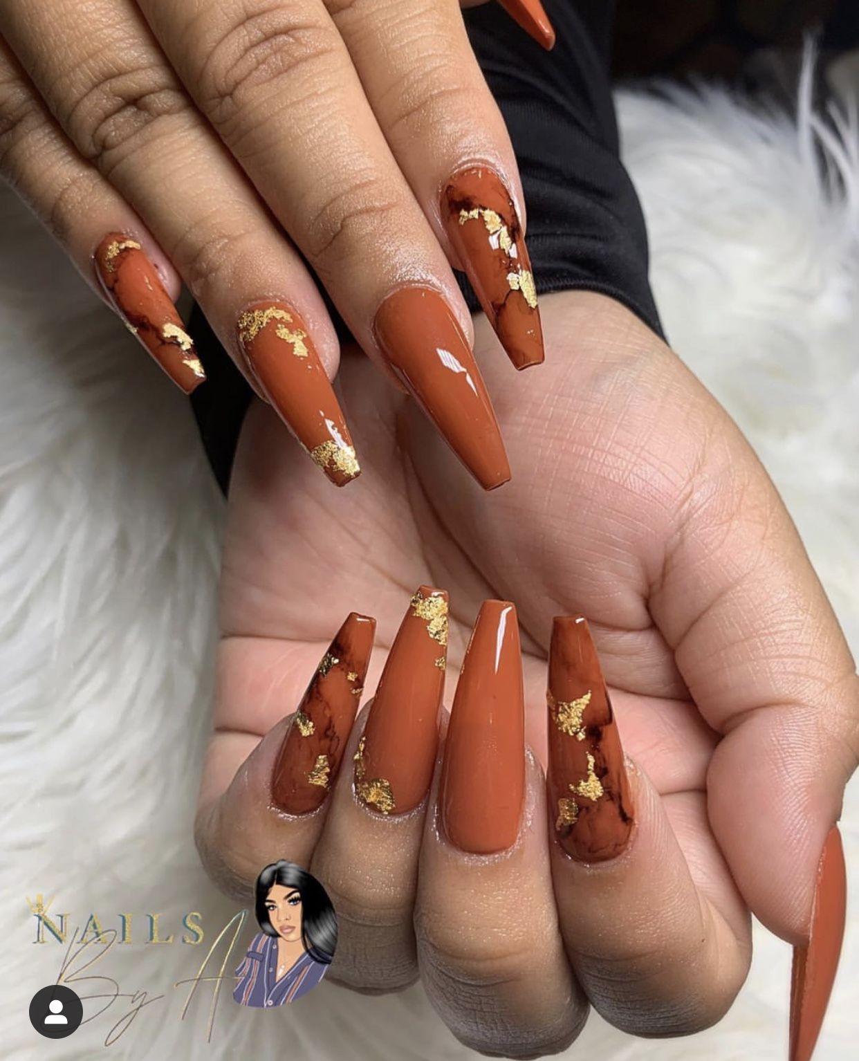 Burnt orange fall colors🔥🔥 | Fall acrylic nails, Orange ...