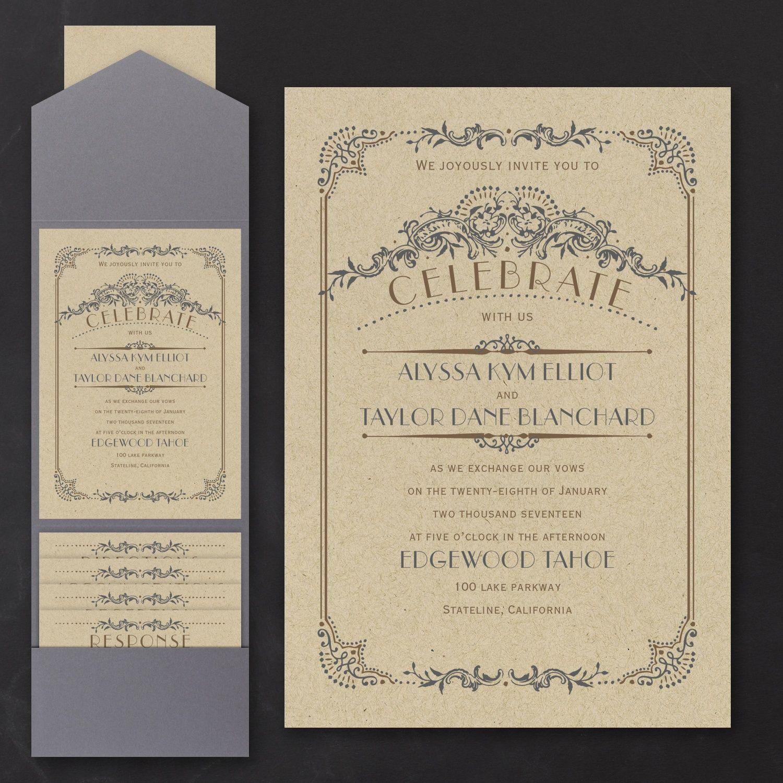 Wedding Day Grandeur - Pocket Invitation > Wedding Invitations ...