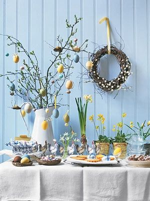 A traditional Easter egg tree as is the custom in Austria, Germany ...