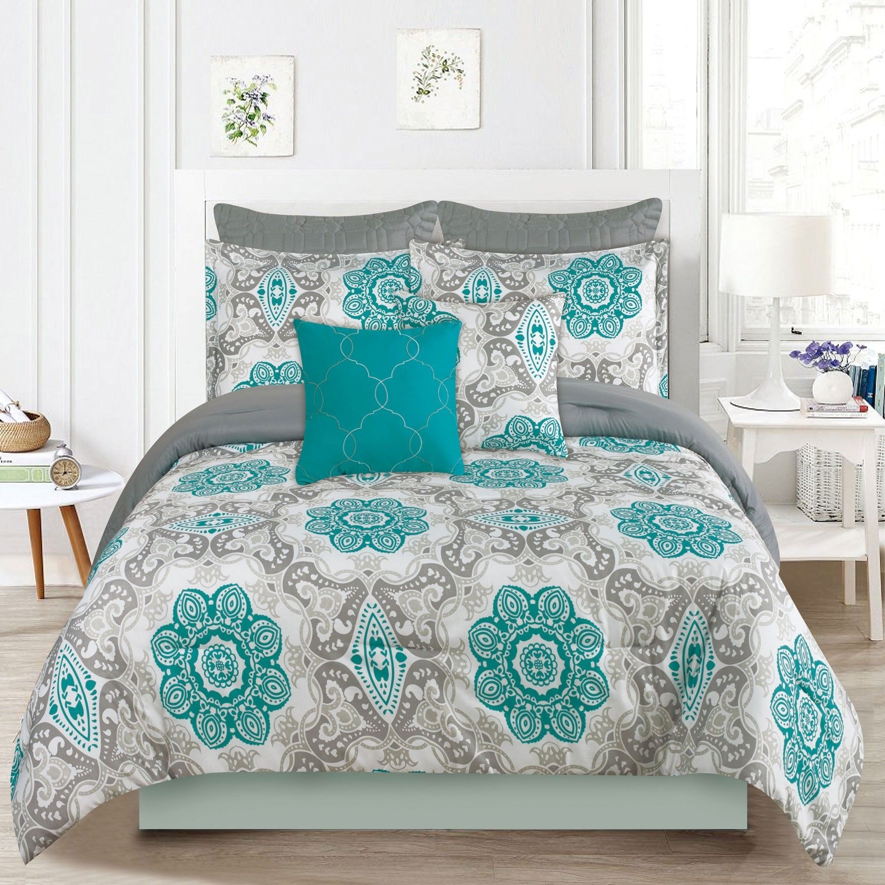 Crest Home Sunrise Queen Size Bedding Comforter 7 Piece Bed Set Teal Blue And Gray Medallion King Size Bedding Comforters Bed Linen Sets Bedding Sets