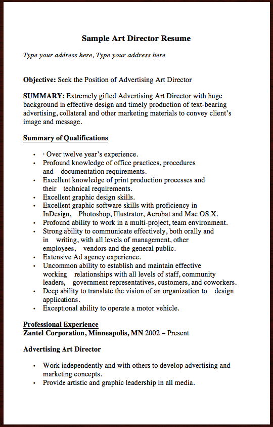 Here Is Another Free Resume Example Related To Film Industry Sample Art Director Resume You Can Preview It Here Sample Art Director Resume Type Your Addr