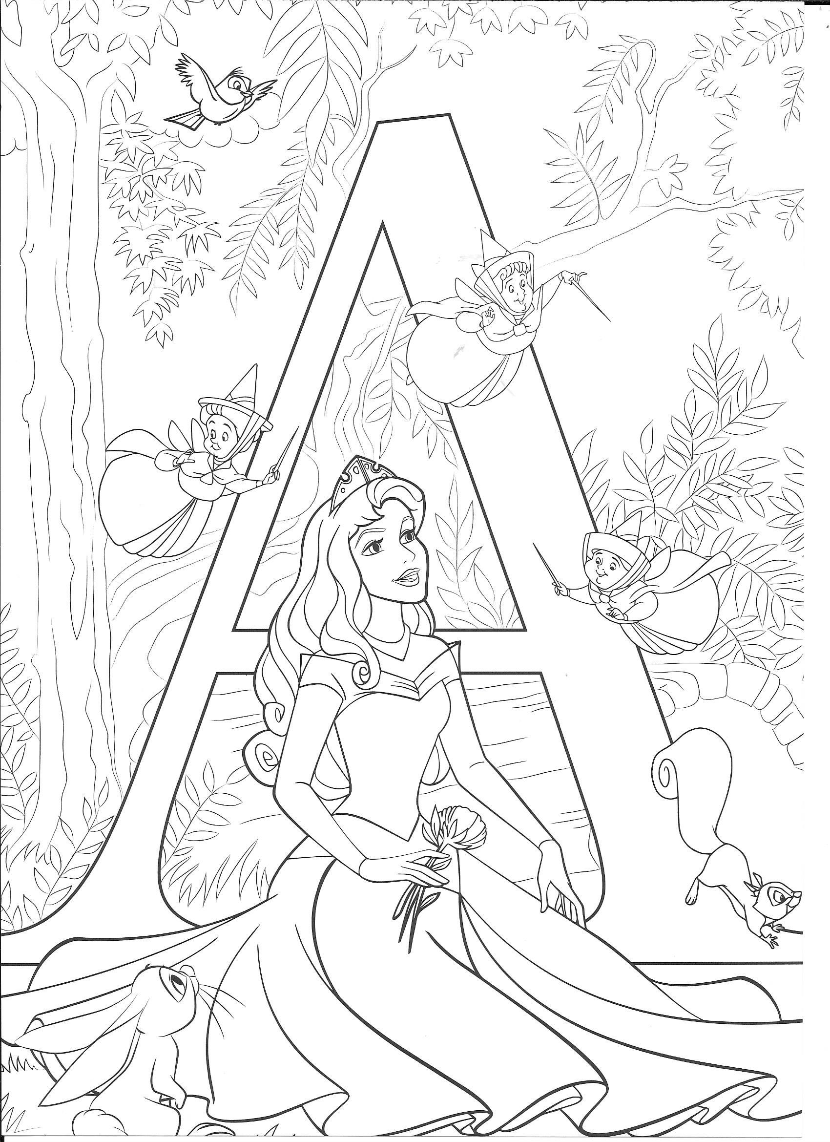 A for Aurora Preschool Princess coloring pages, Disney
