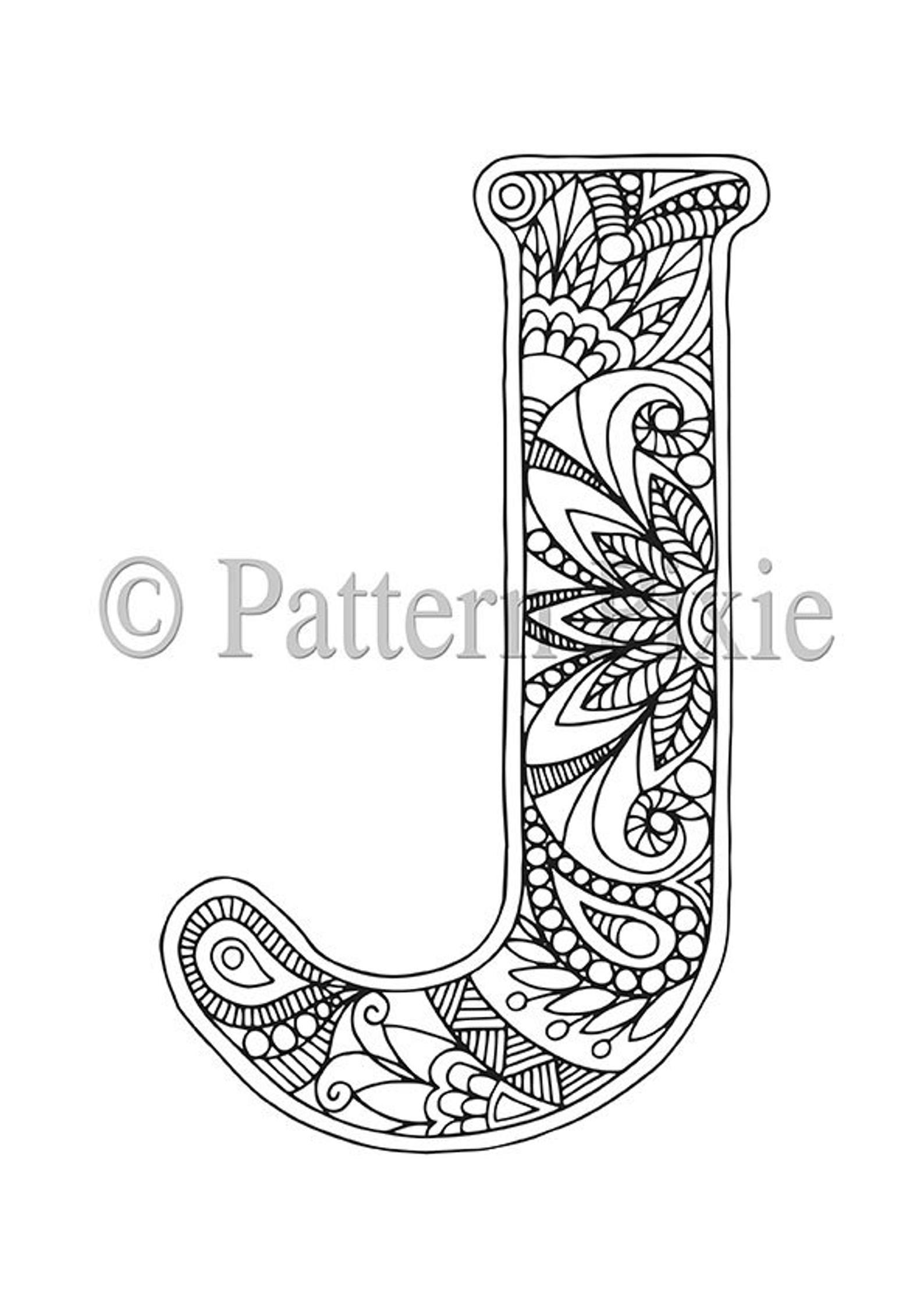 Adult Colouring Page Alphabet Letter J Lettering Doodle