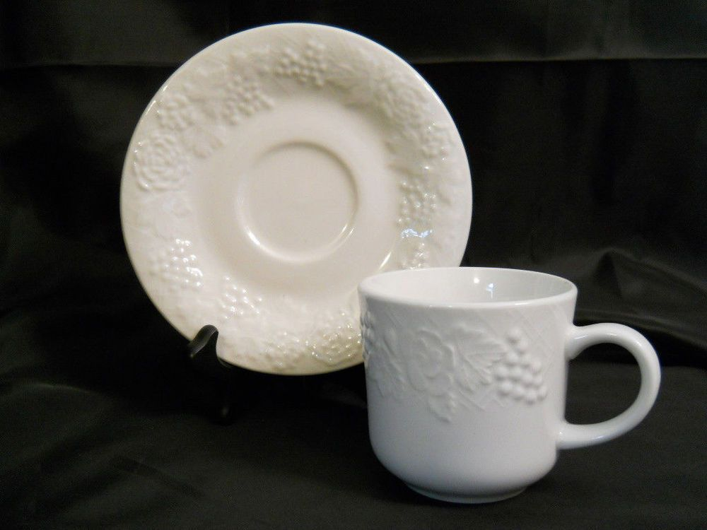 Cups & Gibson FOUR SEASONS Cup \u0026 Saucer White Embossed Grapes Roses Fruit ...