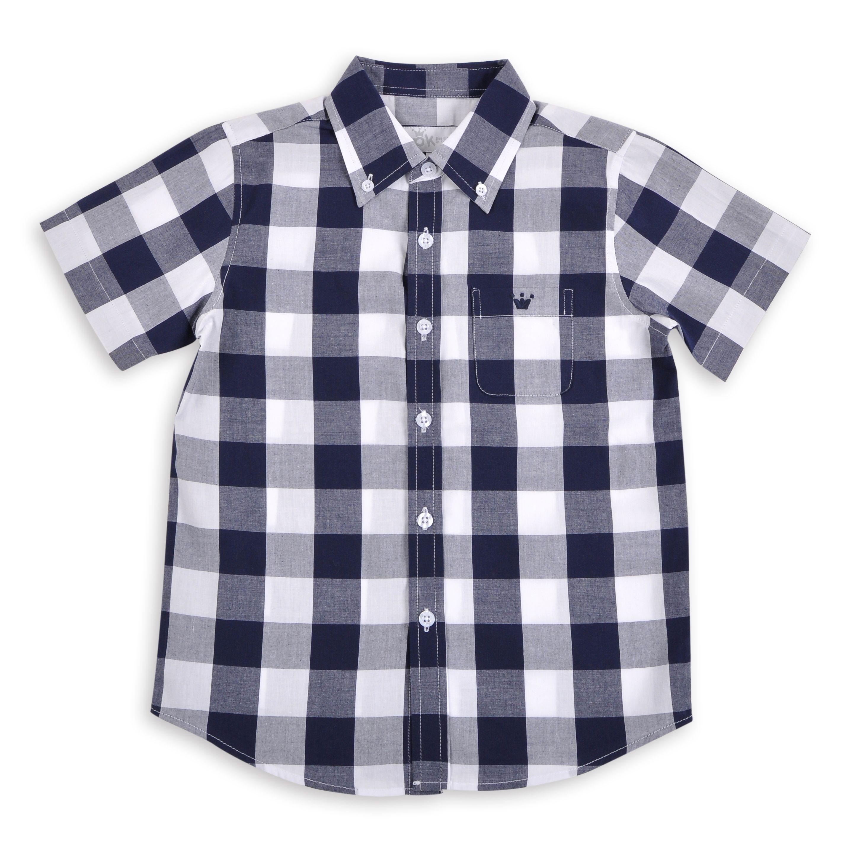87059199f Camisa para niños de cuadros azul marino