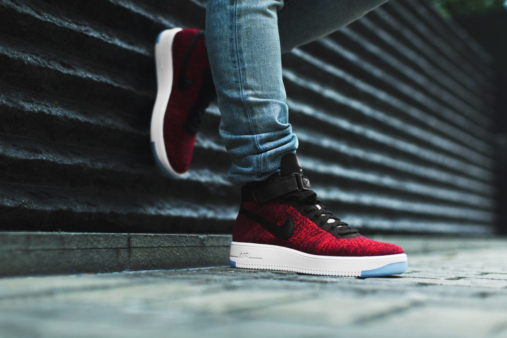 An On Feet Look At The Nike Air Force 1 Ultra Flyknit Red