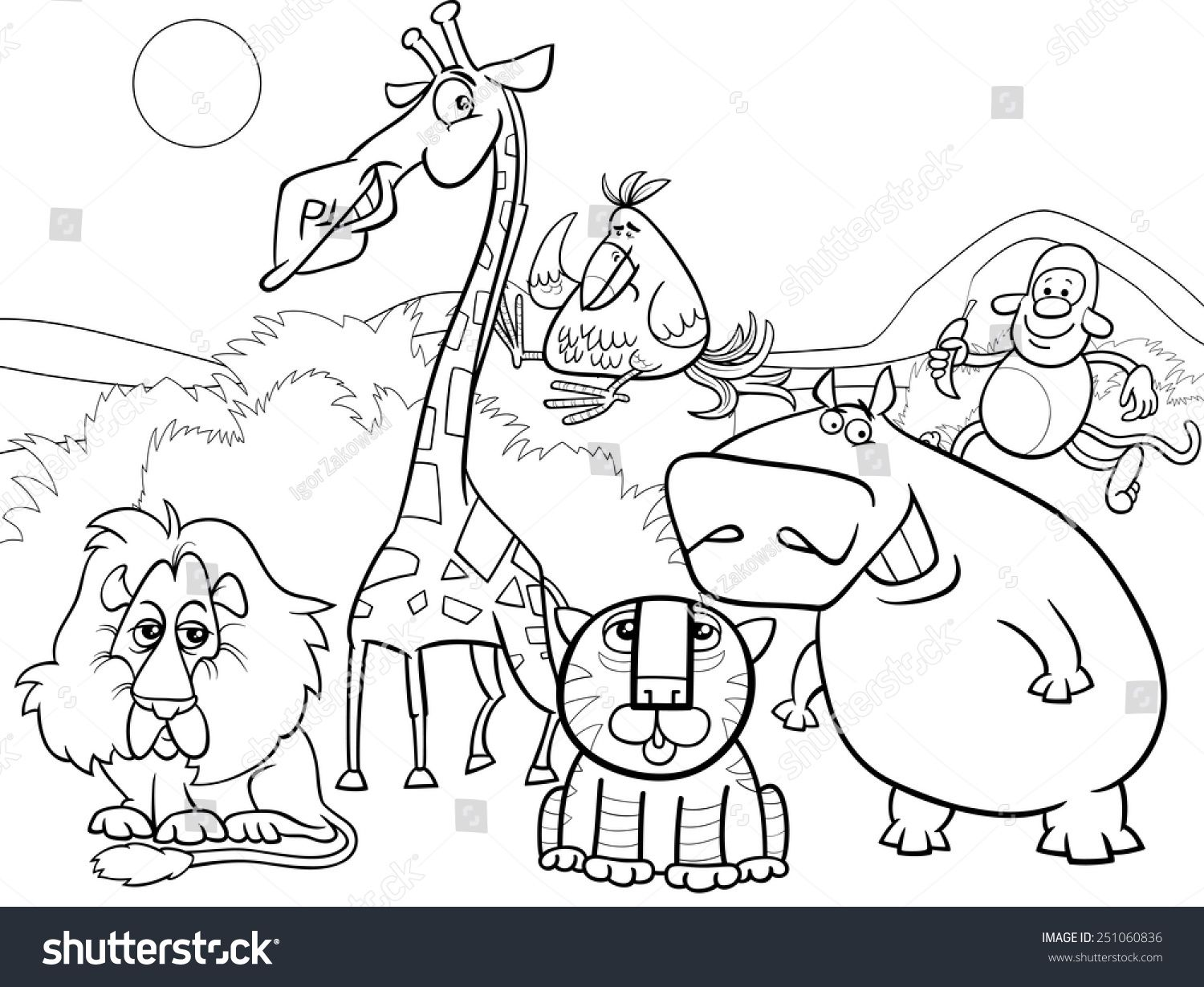 Black And White Cartoon Vector Illustration Of Scene With Wild Safari Animals Characters Group Animal Coloring Books Animal Coloring Pages Lion Coloring Pages