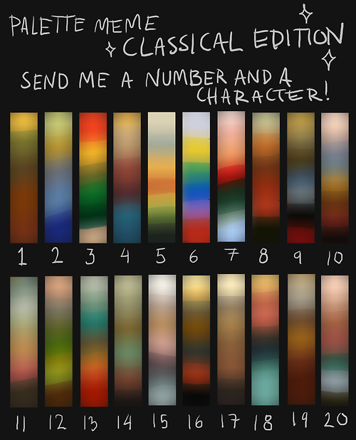 i found the palette meme's very good practise, but i wanted to see one with darker colours, say, maybe of a more classical feeling? th...