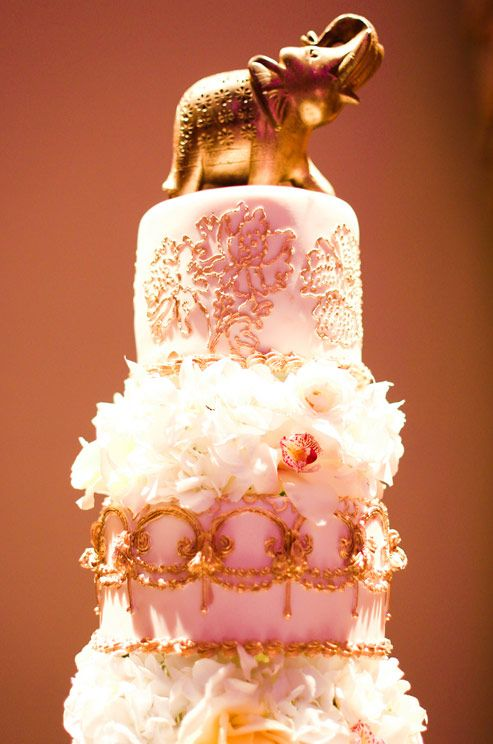 Vibrant Indian Wedding By Donna Newman Photography Cream Cake Elephant Topper