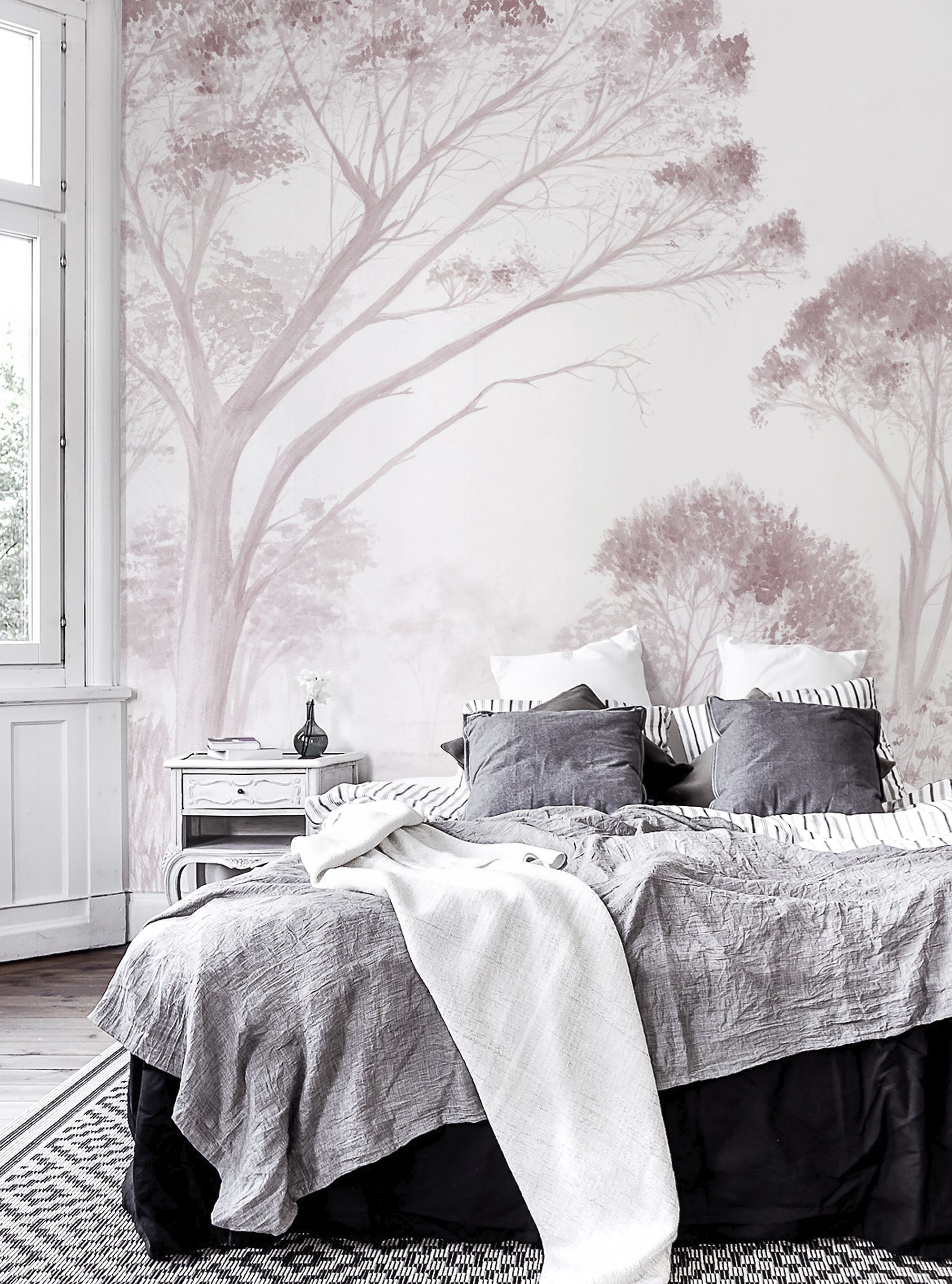Beautiful Wallpaper For The Bedroom Trees Pink Explore More Design By Lemon At Photowall Com Wallpaper Wallmu Wall Murals Wallpaper Bedroom Bedroom Design