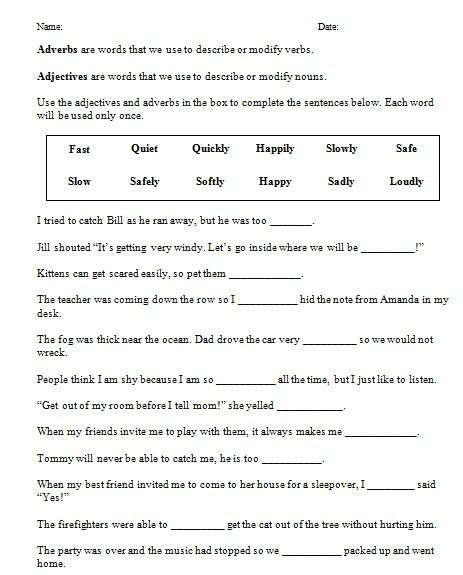 Free Printable Third Grade English Worksheets