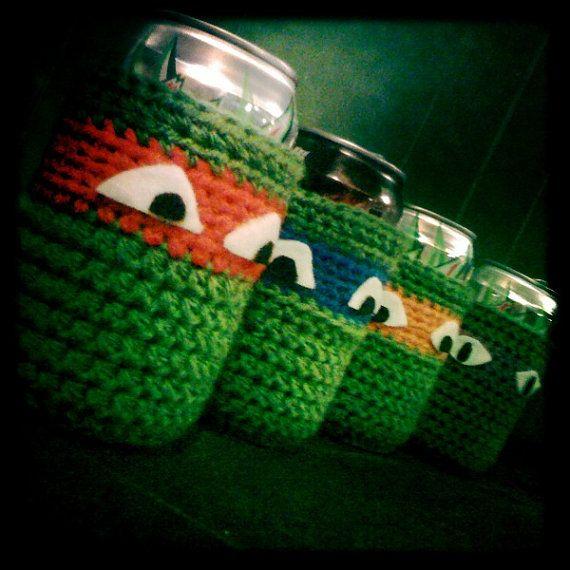 Crochet Teenage Mutant Ninja Turtle Cozys set of 4, $18.00. Makes me ...