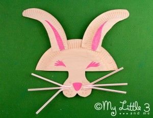Make a paper plate Easter Bunny Mask with whiskers - great for imaginative play. & Make A Paper Plate Easter Bunny Mask | Bunny mask Easter bunny and ...