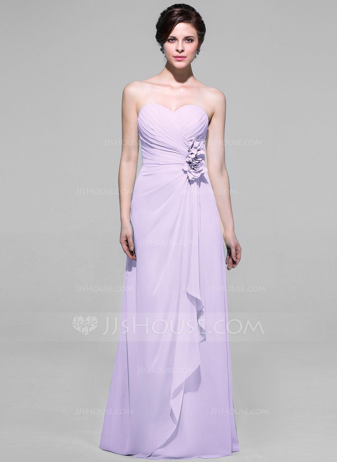 Alineprincess sweetheart floorlength chiffon bridesmaid dress