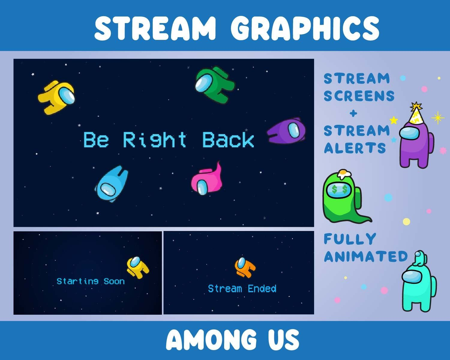 Among Us Animated Stream Screens And Alerts Etsy In 2021 Twitch Streaming Setup Streaming Animation