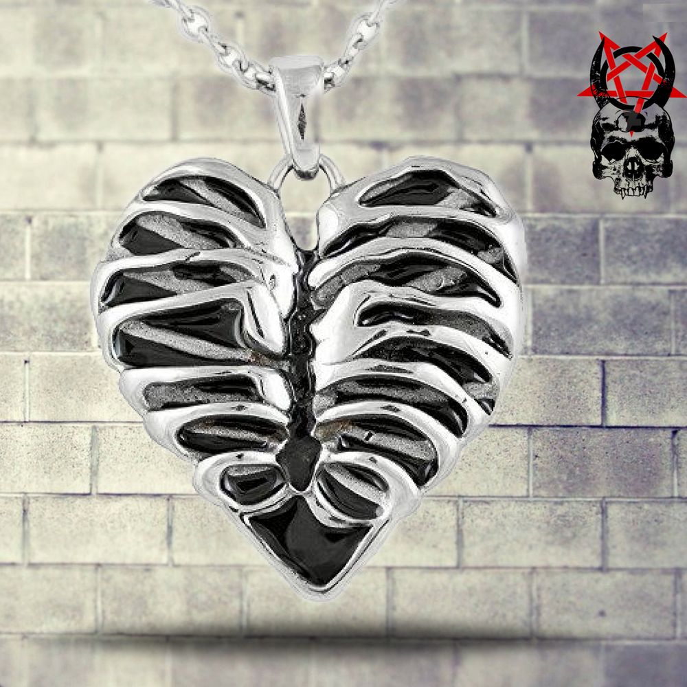 Controse Silver Toned Stainless Steel Rib Cage Heart Necklace 17 19 Adjustable Chain Rib Cage Heart Neck Satanic Clothing Caged Heart Necklace Gothic Outfits