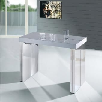 table console extensible century blanc laqu e 712 549. Black Bedroom Furniture Sets. Home Design Ideas