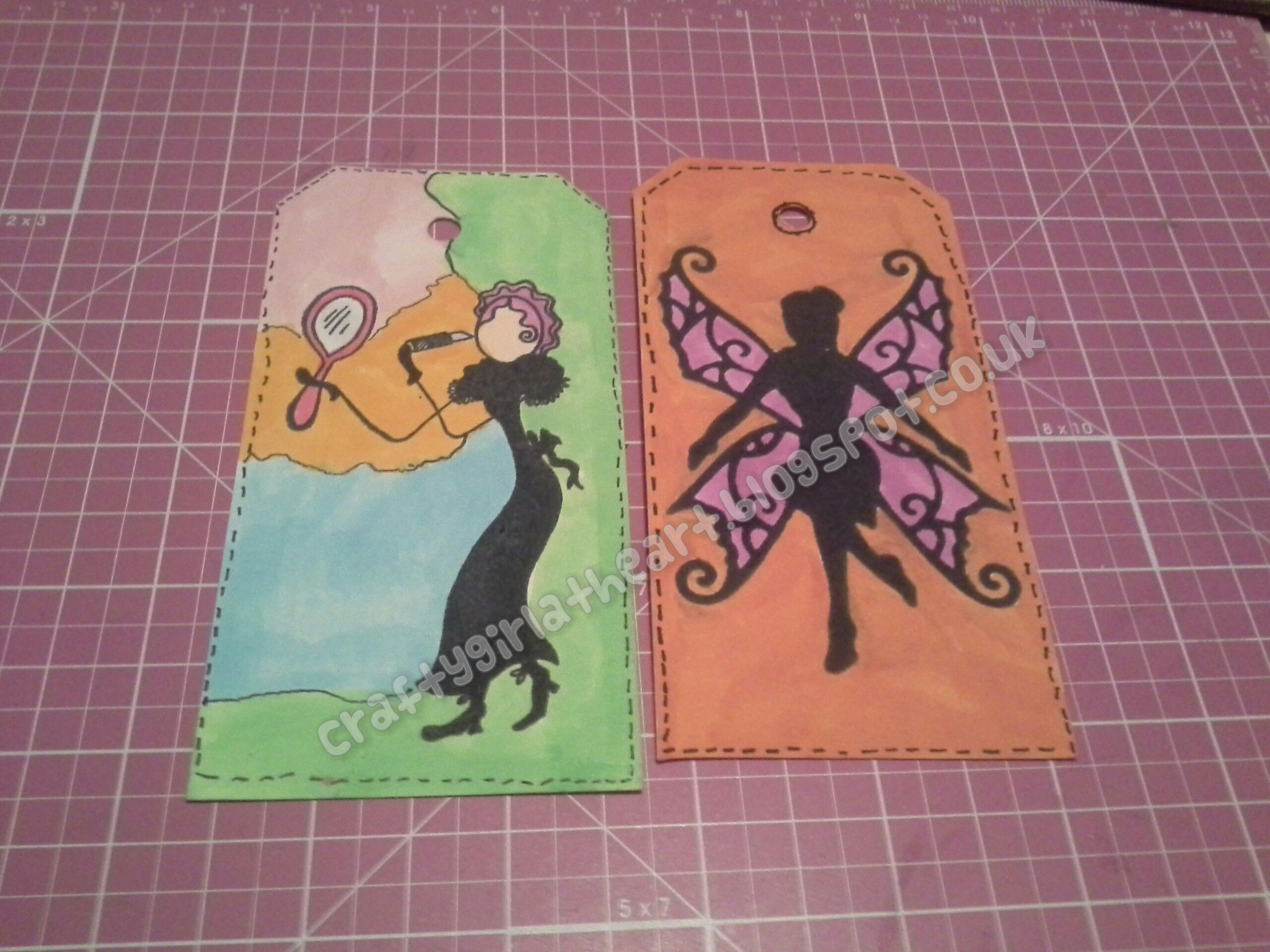 my stamping :) 1st tag - a lady stamp with a mirror - not sure on what the brand is or the name.   2nd tag - i used a spellbinders fairy die and cut it out in funky foam and made a stamp with it.
