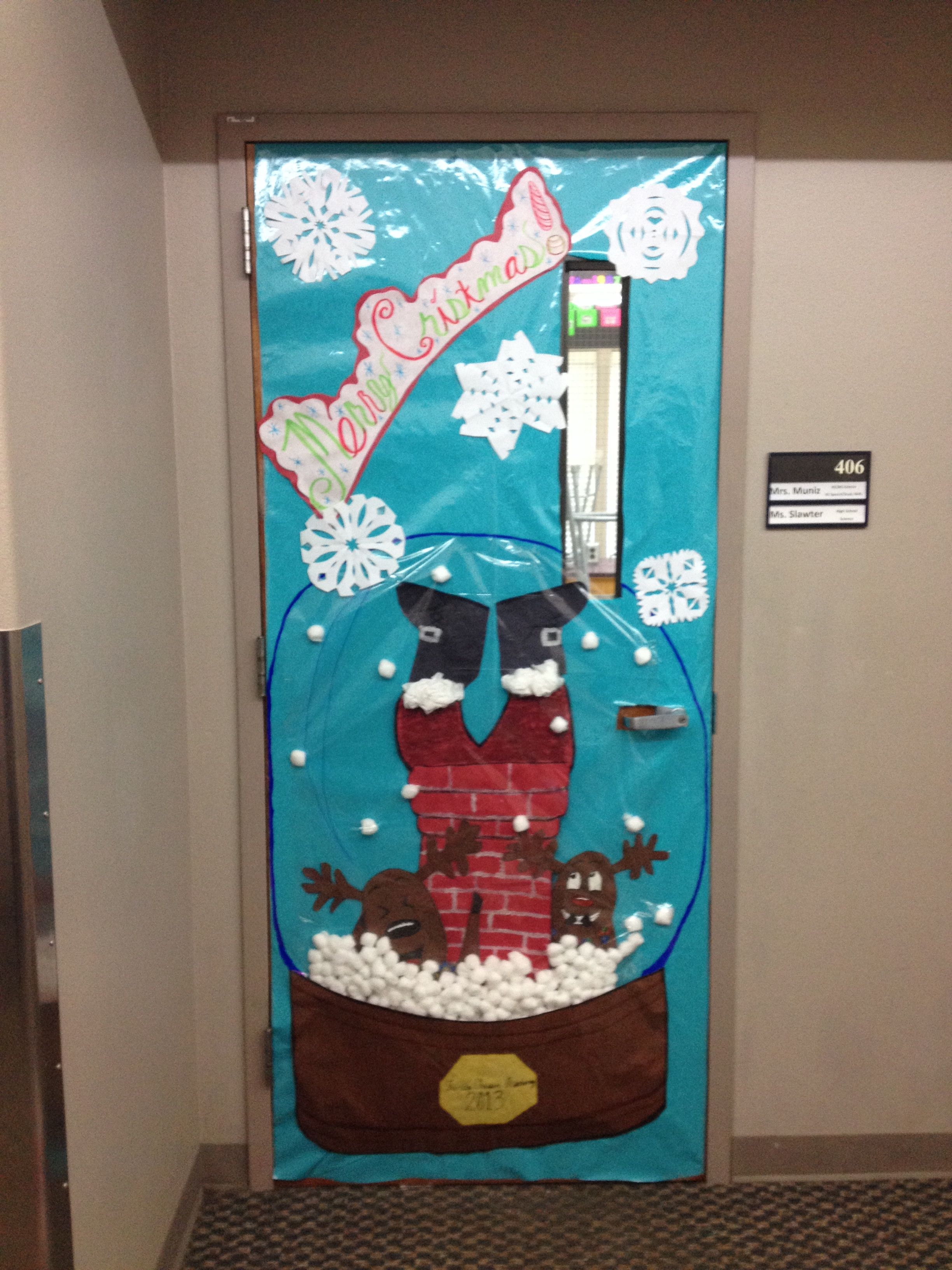 Snow classroom door decorations - Christmas Door Decoration For A Contest Snow Globe