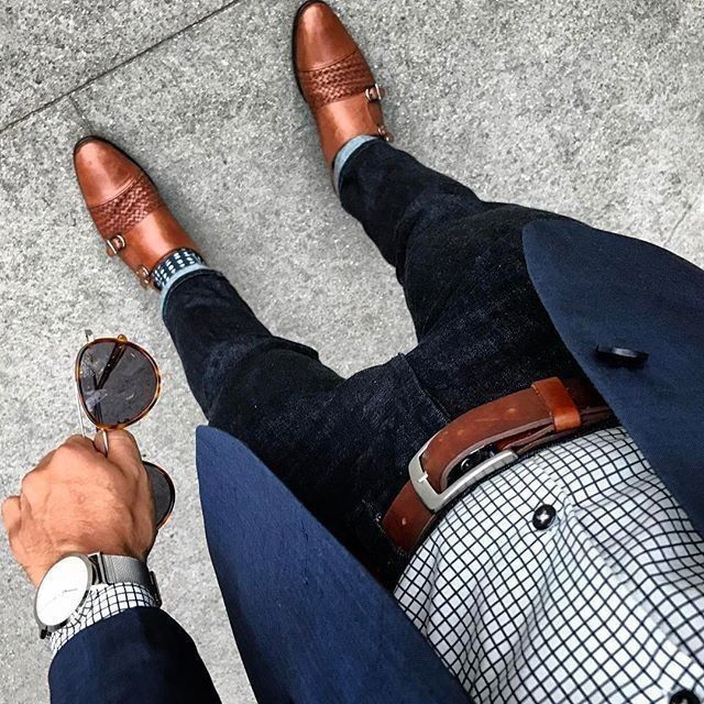 Men brown dress shoes with black jeans, check shirt, brown