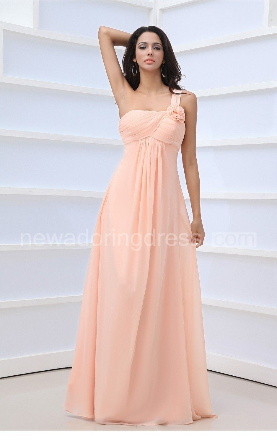 Floral crisscross draping dress with single strap long bridesmaid