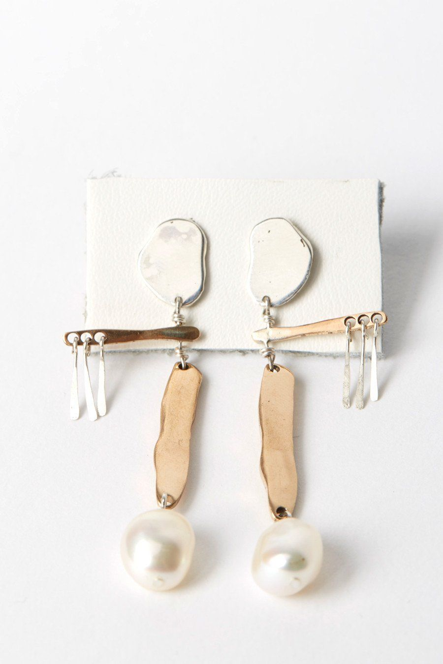 Faris Mobile Earrings In Silver Bronze And Irregular Pearl