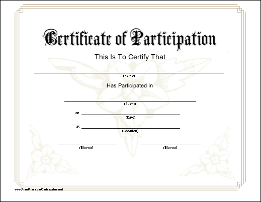 A Printable Certificate Of Participation With A Subtle Flower Design