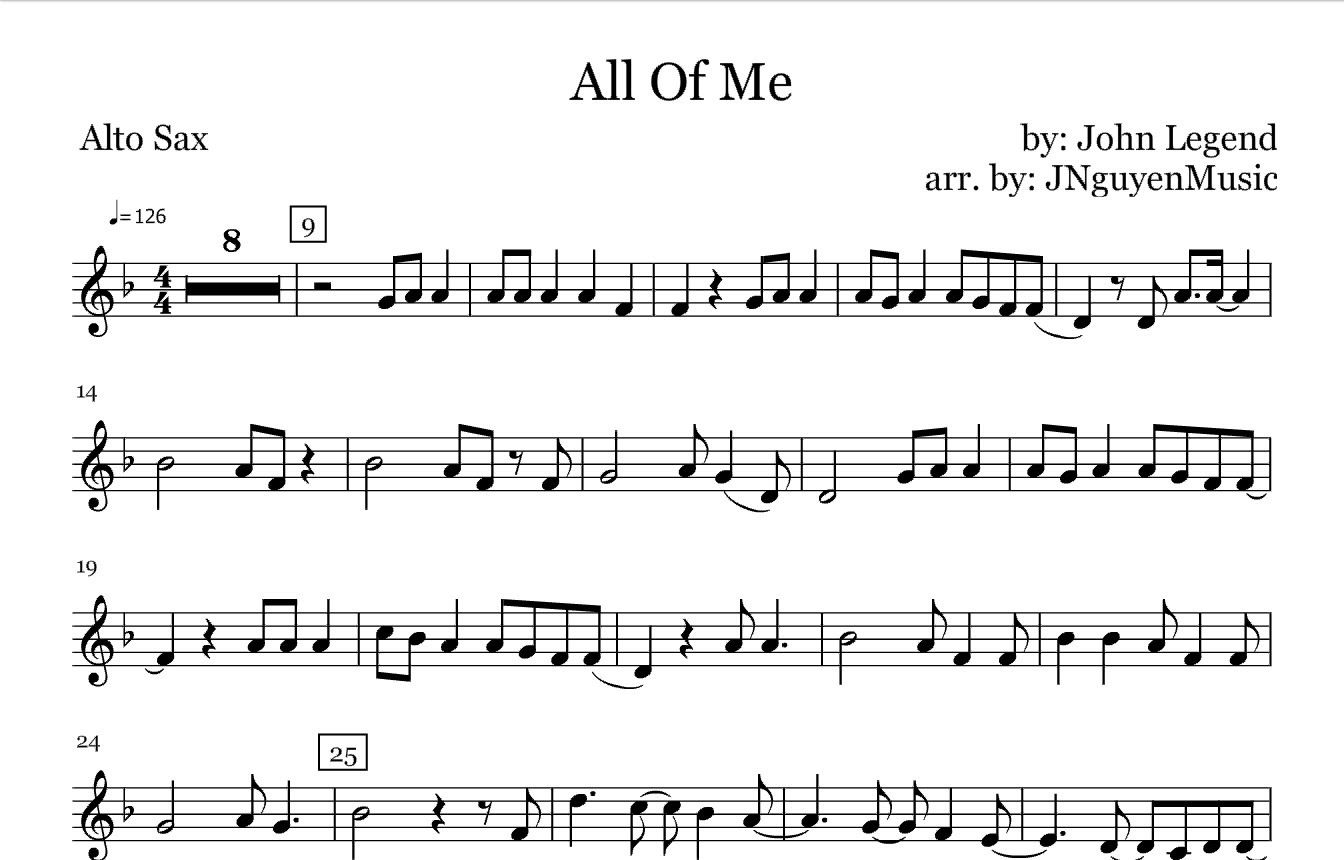 All Of Me John Legend Saxophone Sheet Music In 2019