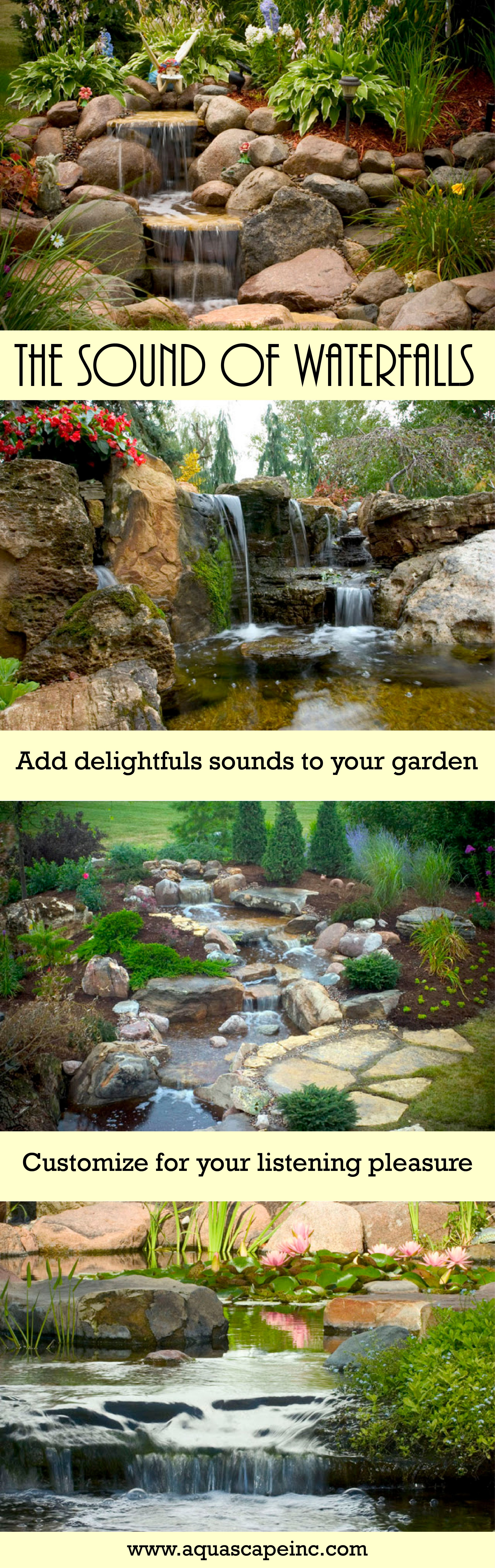 sights and sounds of waterfalls ponds and water features