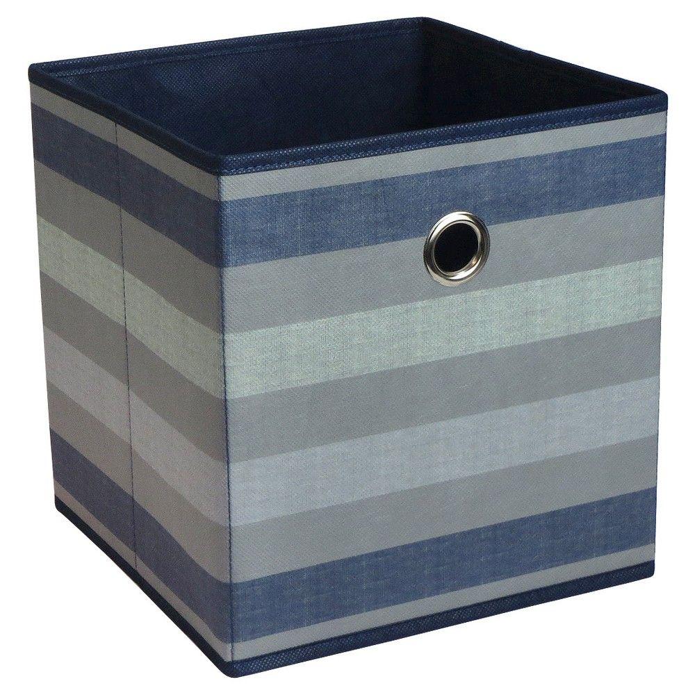 Fabric Cube Storage Bin 11 Navy Stripe Pattern Room Essentials Cube Storage Cube Storage Bins Fabric Storage Bins