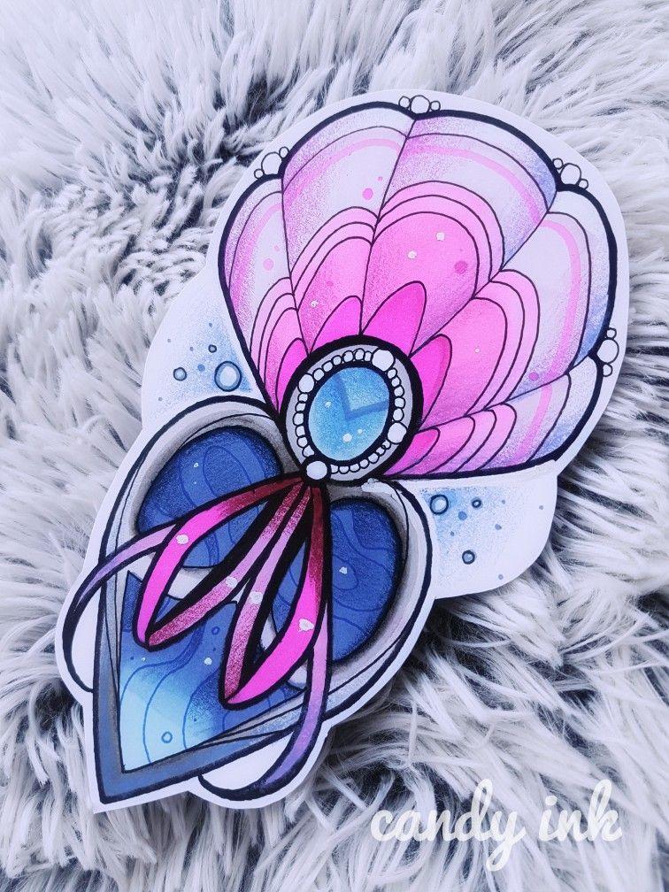 #neo #traditional #girly #tattoo #design #sea #shell #heart