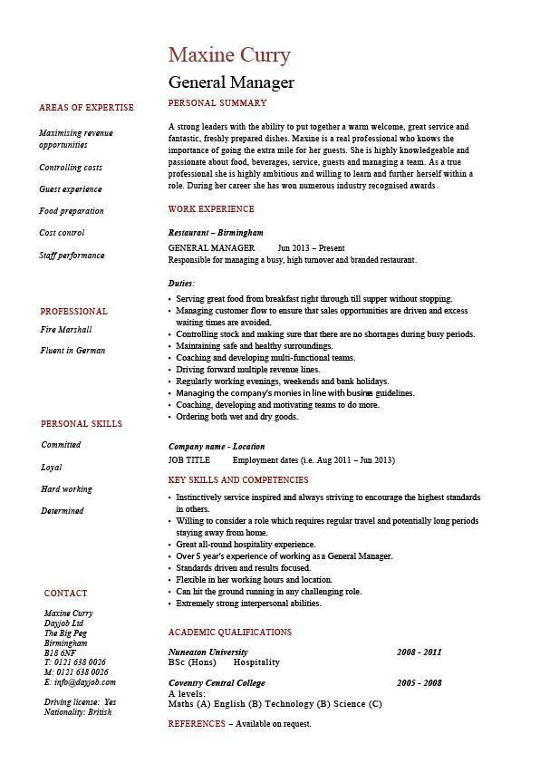 general manager resume example job description sample hotel new york - resume rabbit cost