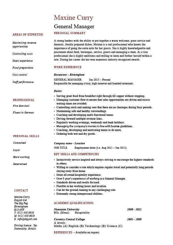 General Manager Resume Example Job Description Sample Hotel New York Elliott Forsey Marketing Proposal Surat