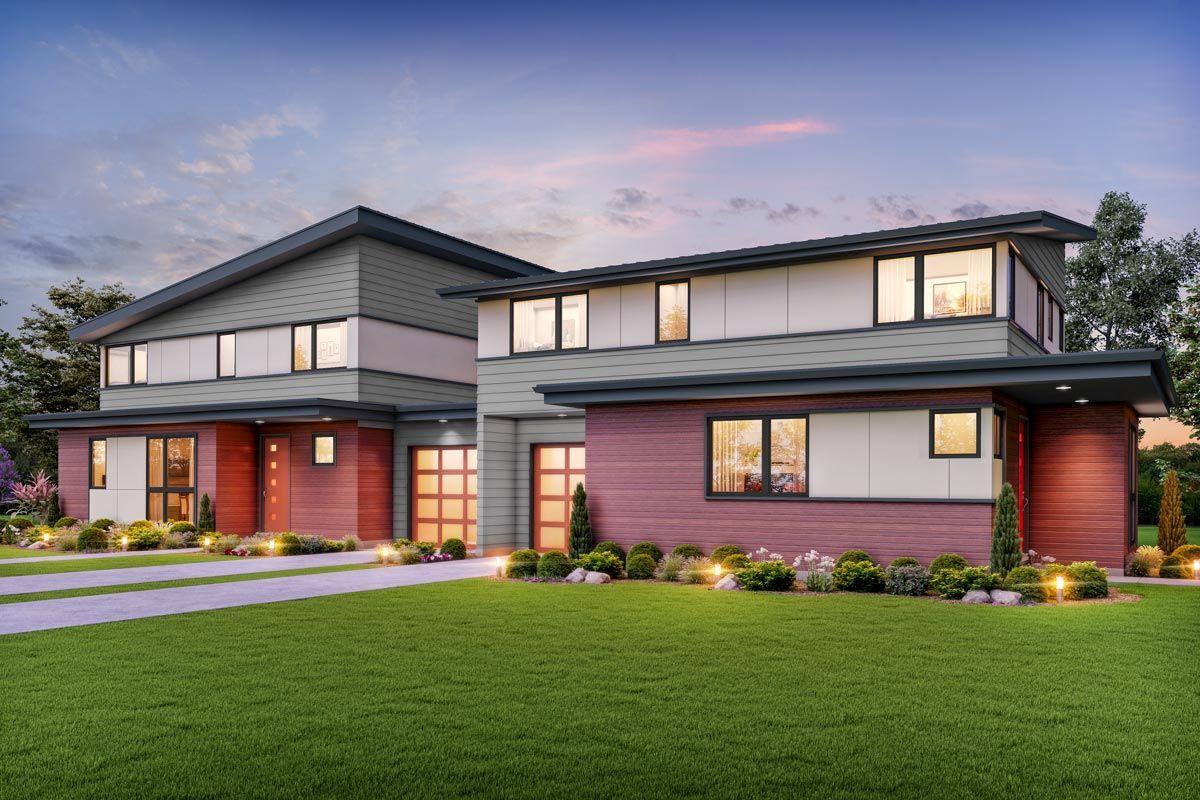 Plan 69732am Modern Duplex House Plan With Asymmetric 3 Bed Units Duplex House Plans Duplex House House Plans