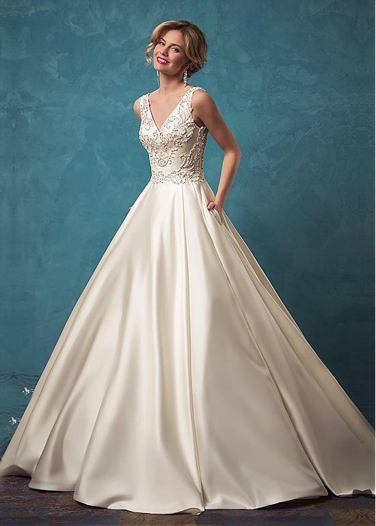 Buy discount Modest Satin V-neck Neckline A-line Wedding Dresses ...