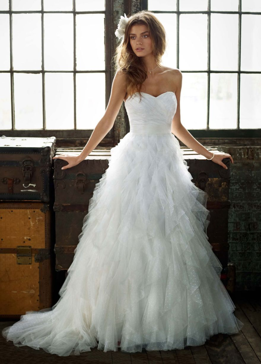 Strapless Dot Tulle Ball Gown