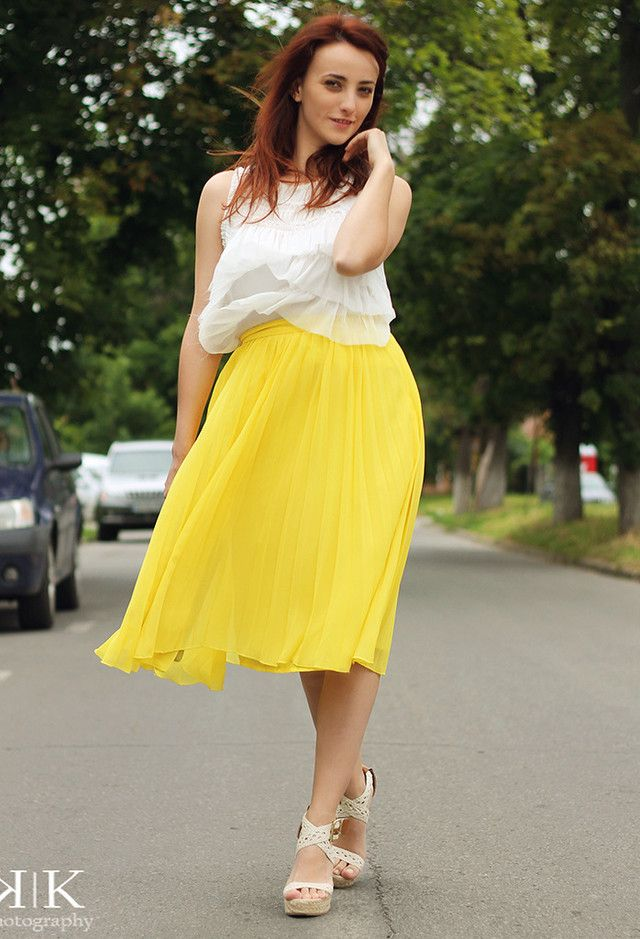 6ff6e6956 ... Pretty Designs. Hot summer women outfits for 2014.  roressclothes  closet ideas  women fashion Yellow Dress and White Wedges