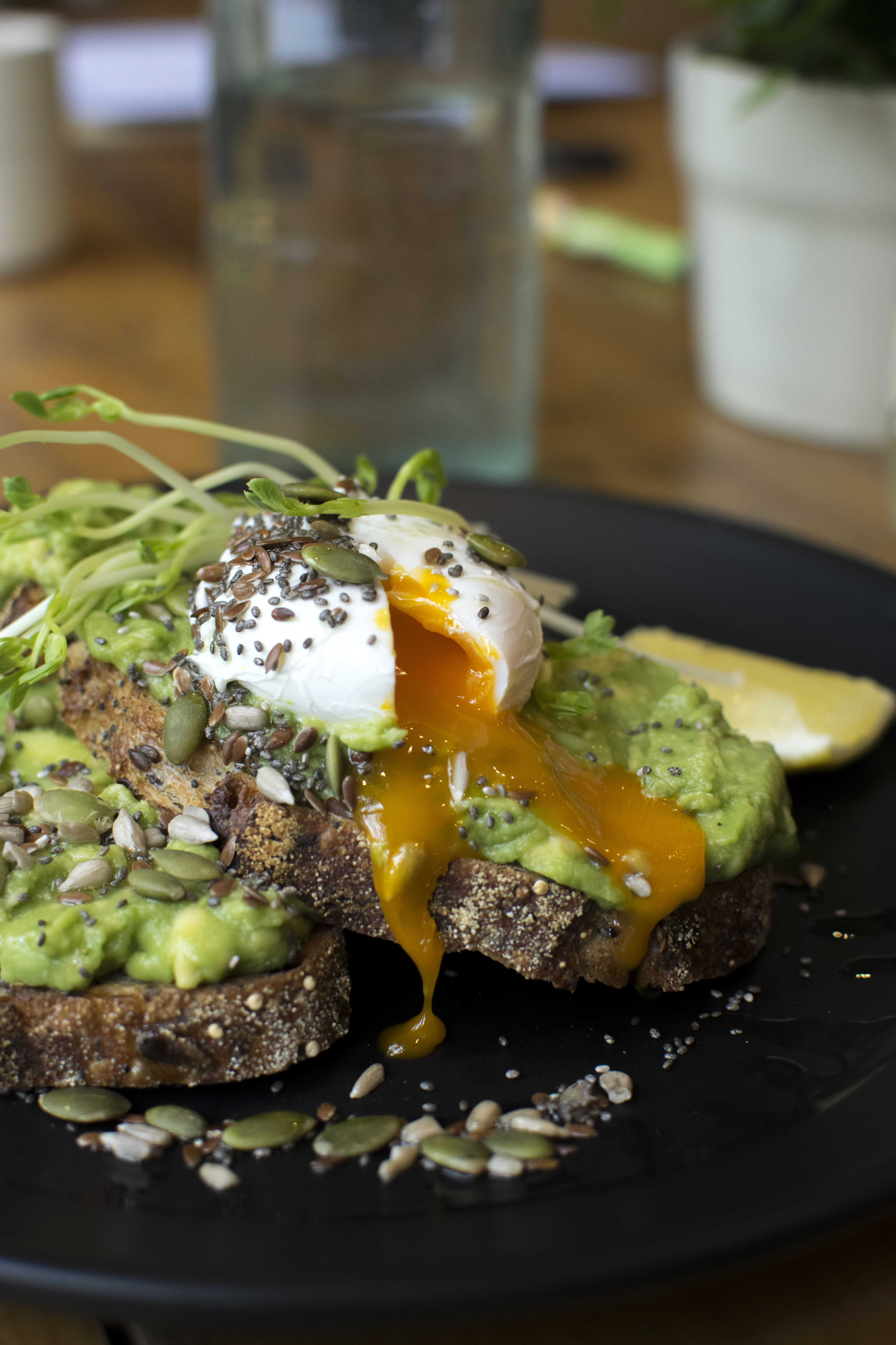 SMASHED AVOCADO with poached eggs, snow pea sprouts, mixed