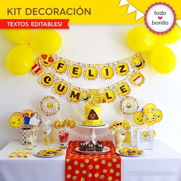 Kit imprimibles para fiestas tem ticas infantiles emojis - Tematicas para fiestas de cumpleanos ...