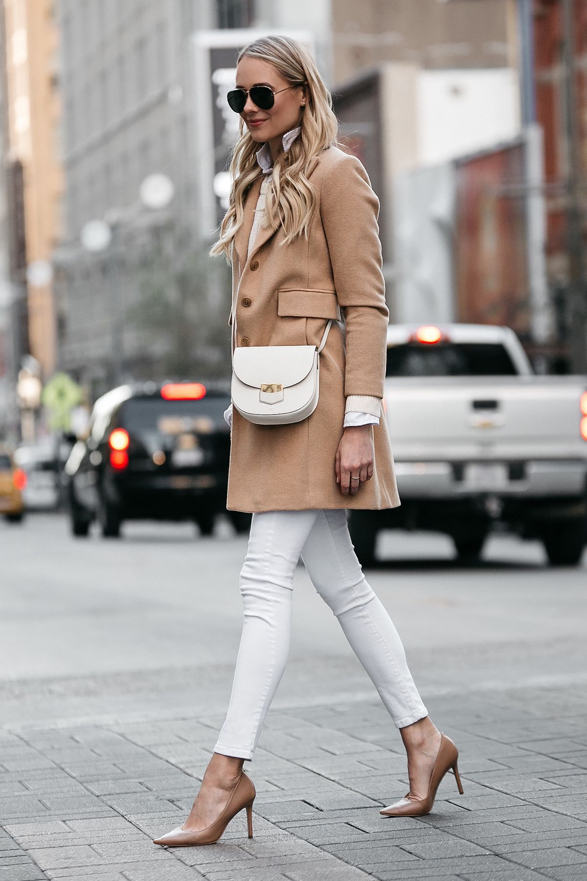 Blonde Woman Wearing Camel Wool Coat White Skinny Jeans Pumps Celine Trotteur Handbag Fashion Jackson Dallas Blogger Street Style