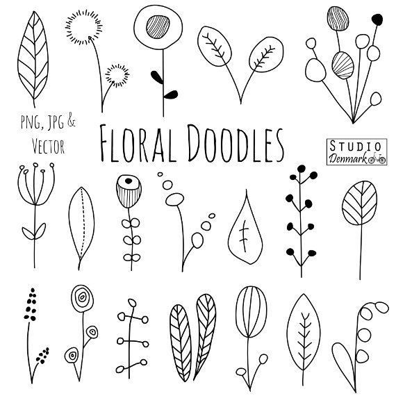 Doodle flowers clipart and vectors hand drawn flower and leaf doodles sketch nature foliage botanical drawings commercial use handmade design