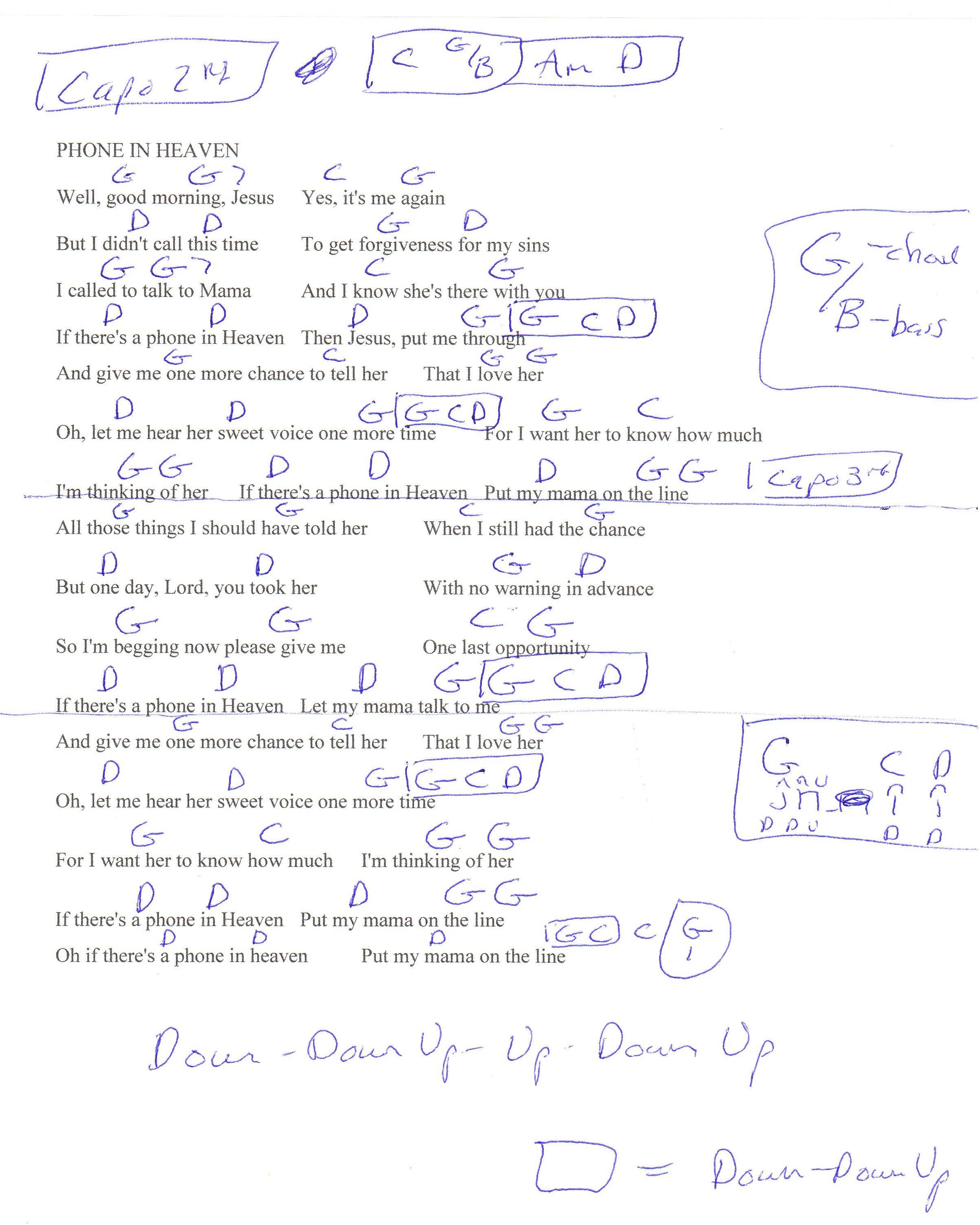 Phone In Heaven Mike Manuel Guitar Chord Chart Capo 2nd And 3rd