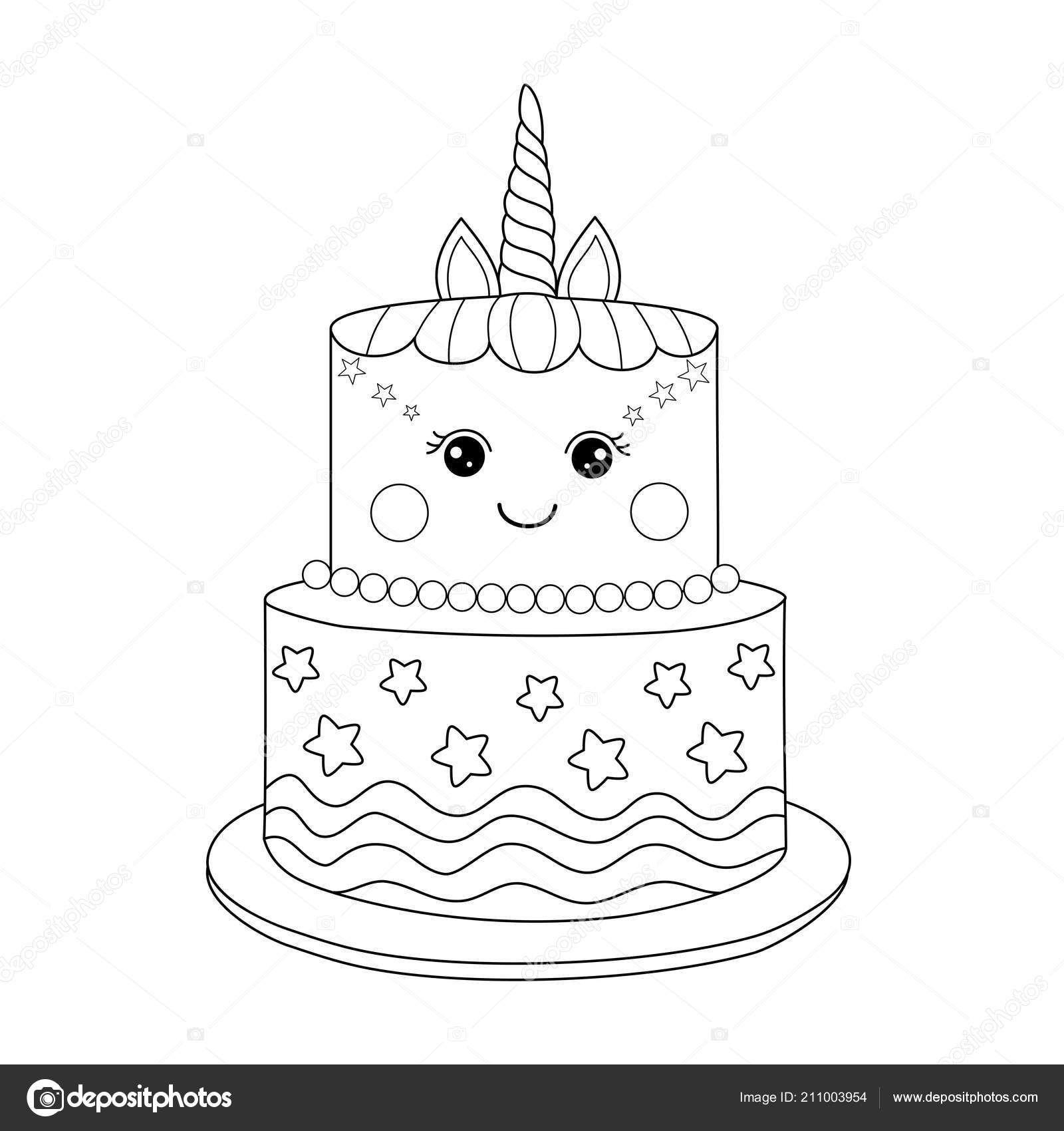 Unicorn Taart Kleurplaat Boek Voor Volwassen Vectorillustratie Handdrawn Doodle Stijl In 2021 Kleurplaten Kleurboek Eenhoorn Cake