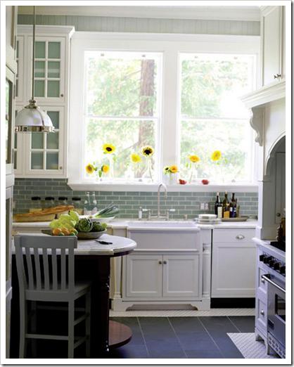 Flowers On The Window Aqua Gl Subway Tile Backsplash White Cabinets Slate Floor